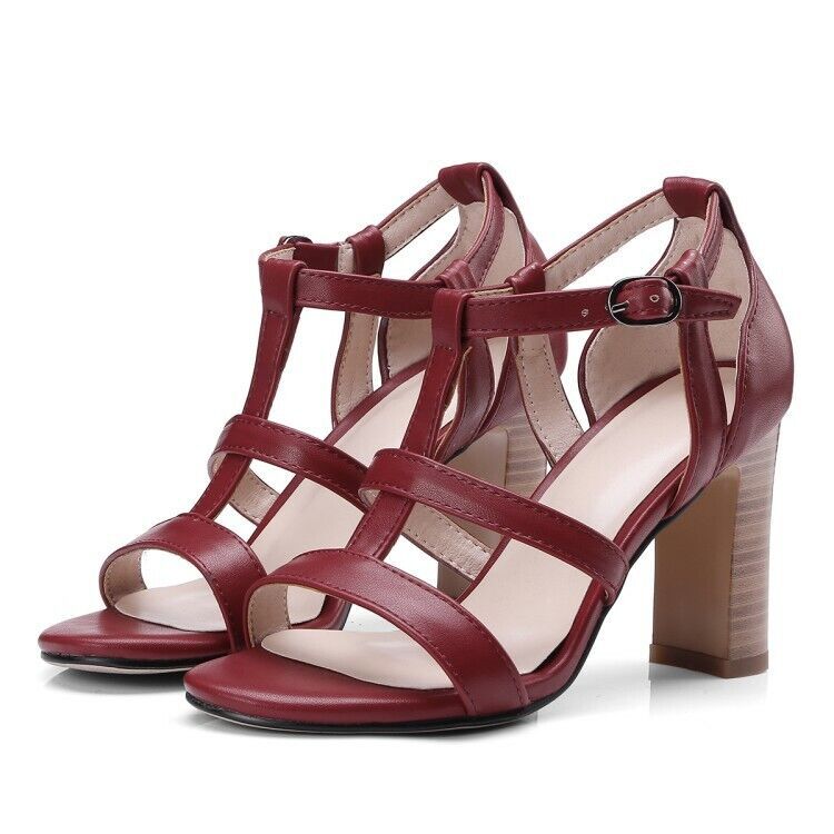 Ladies Strappy Open Toe High Block Heels Pumps Stilettos Sandals Fashion Shoes