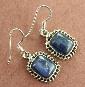 Natural-Blue-Kyanite-Gemstones-925-Sterling-Silver-Jewelry-Earring-5gm