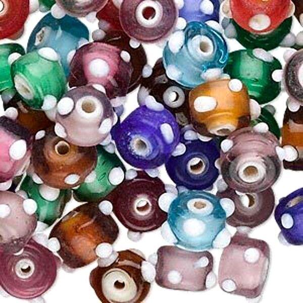 Lampwork Glass Bumpy Beads Wholesale Lot  Mix Handmade Jewelry 24 pcs Polka Dot