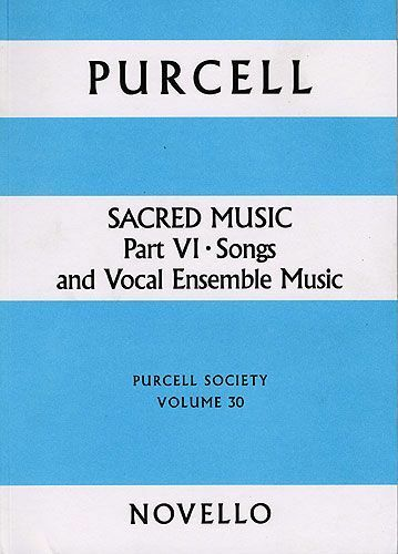 Purcell Society Sacred Music Part 6 Ensemble Sing Choral Voice Music Book