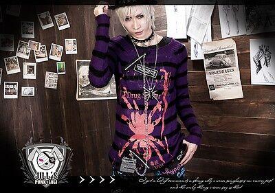 Punk visual Kei cosplay Death Note Amane Misa unisex stripe sweater W JJ0015 Men