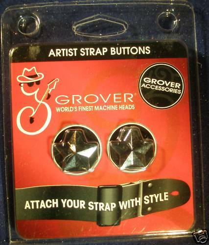 Grover Chrome Star Style Artist Strap Buttons NEW