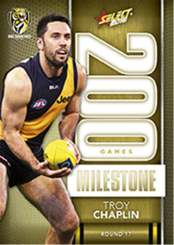 2016 AFL Footy Stars Trading Cards Milestones Subset MG64 Troy ChaplinRichmond