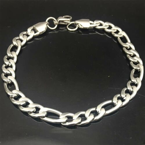 5pcs Stainless steel Figaro Link Chain 6mm width Bracelet DIY Jewelry Findings