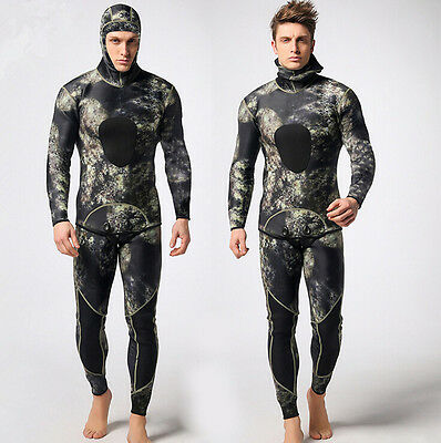 Men's Camouflage Two-piece Suit Super stretch WetSuit for Diving and Swimming