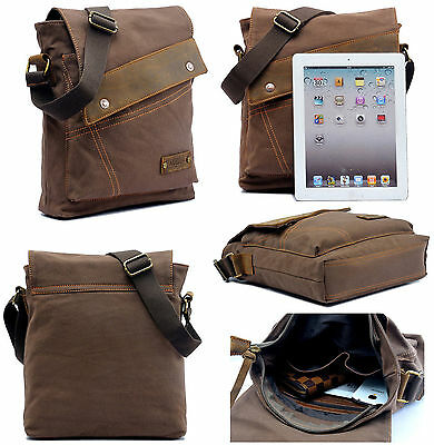 Men Vintage Canvas Leather Military Messenger Bag Shoulder School Hiking Satchel