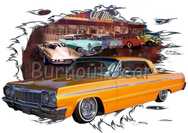 1964 Gold Chevy Impala Custom Hot Rod Diner T-Shirt 64 Muscle Car Tees