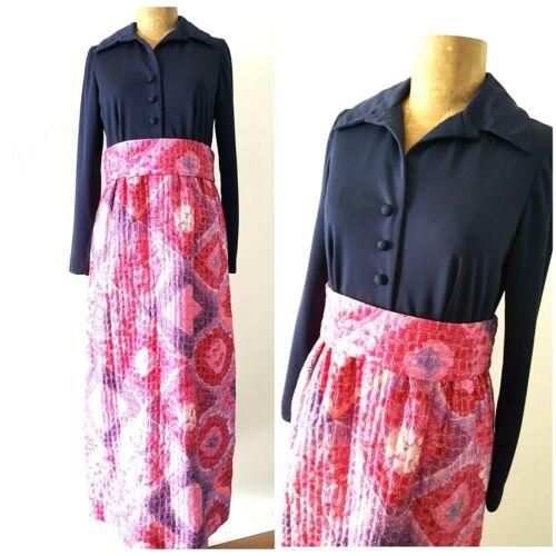 Vintage 60s Quilted MOD Maxi Dress Size Medium Hos