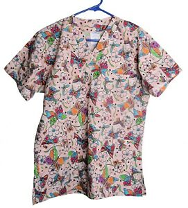 Pink multi-color flowers Butterflies Scrub top  XS Extra-small NWT