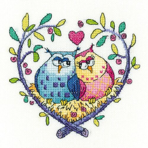 HERITAGE CRAFTS LOVE OWLS COUNTED CROSS STITCH KIT BIRDS OF A FEATHER