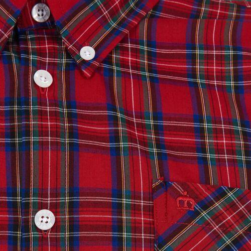 Da Uomo Merc London a Maniche Lunghe Colletto Con Bottoni Tartan Check camicia Neddy-Rosso