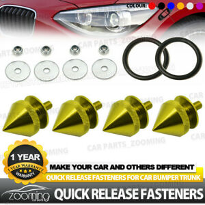 Silver JDM Spike Aluminum Quick Release Fasteners Kit Fit For Bumper /& Trun