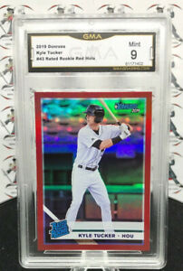 KYLE-TUCKER-RATED-ROOKIE-RC-2019-PANINI-DONRUSS-RED-HOLO-PARALLEL-43-ASTROS-O17
