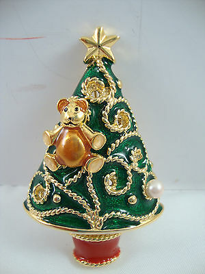 Christmas Tree Brooch Pin Gold Star Red Green Earring Ornaments Rope Teddy Bear