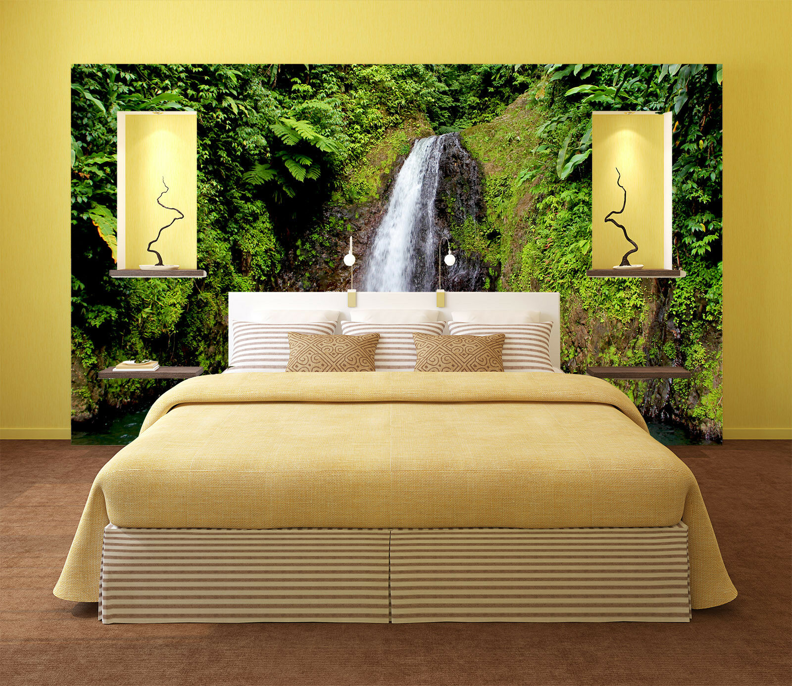 3D Wasserfall Sträucher 854 Tapete Wandgemälde Tapete Tapeten Bild Familie DE
