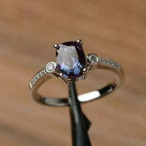 1-76ct-Cushion-Cut-Natural-alexandrite-Unique-Wedding-Ring-14K-White-Gold-Over