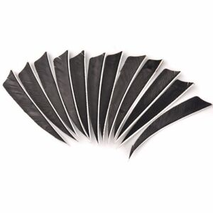 DIY Turkey Feather Real Fletches 36pcs 4in Archery Arrow Shield Black Hunt Sport