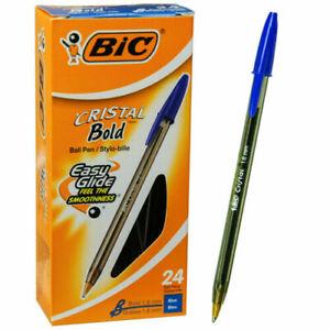 Box-Of-24-Bic-Cristal-Bold-1-6mm-MSBP24-Blue-Ink-Ballpoint-Pen