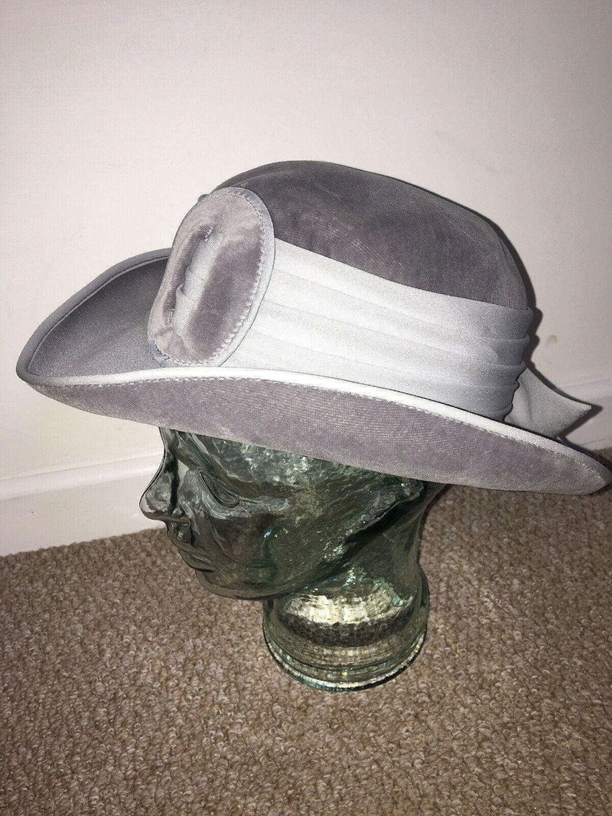 Mitzi Lorenz Grey Formal Hat 20s Style Exceptional Quality Ladies Fancy Wear