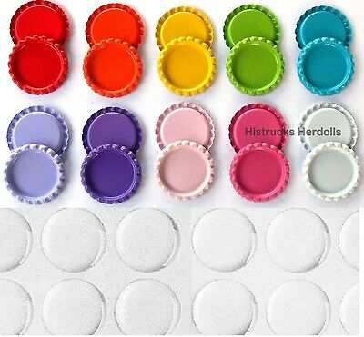 """100 Double Sided Painted 1"""" Mix Flat Bottle Caps 10 COLORS SET + EPOXY STICKERS"""