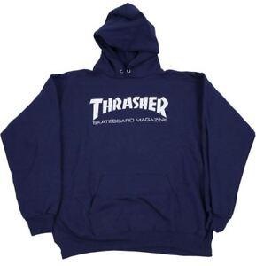 10cb39aa47e9 Image is loading Thrasher-Skateboard-Skate-Mag-Logo-Navy-Hoody