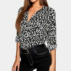 New-V-Neck-T-Shirt-Pullover-Loose-Top-Elegant-Blouse-Fashion-Long-Sleeve-Tops