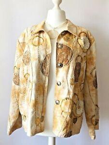INDIGO-MOON-Artisan-Boho-Jacket-2XL-20-22-Floral-Ivory-Sequin-Unusual-festival
