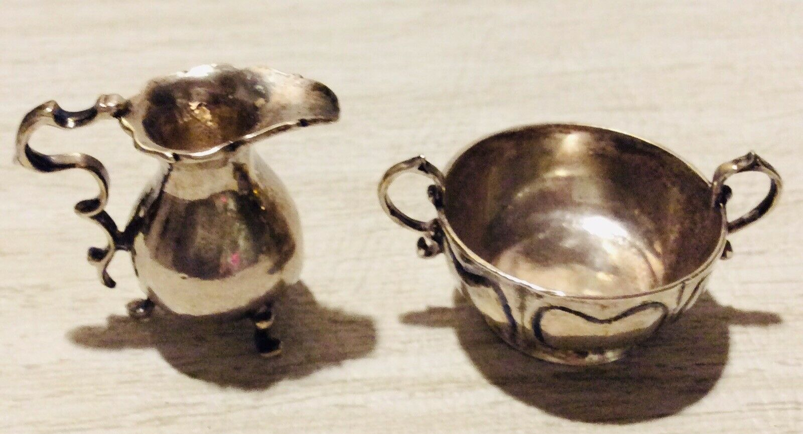 Jahr, Miniature Sterling Pitcher And Cup Dollhaus, M M A