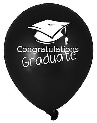 6 x Black Graduation Balloons Congratulations Graduate Balloons