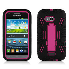 Samsung Galaxy Victory 4G LTE L300 Black Pink Armor Hybrid  Kickstand Case
