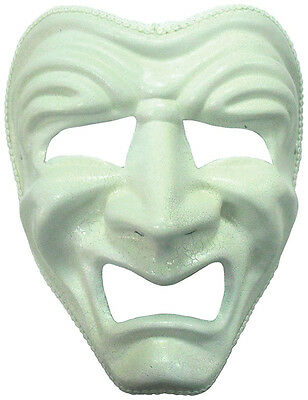 #Sad Face Mask White Fancy Dress Party Adult Accessory