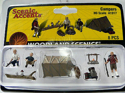 HO Scale Model Railroad Trains Woodland Scenics Camping People Figures 1917