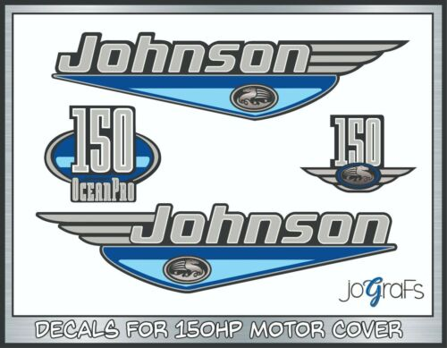 "Johnson Outboards Silver Decal 12/"" Stickers Pair"