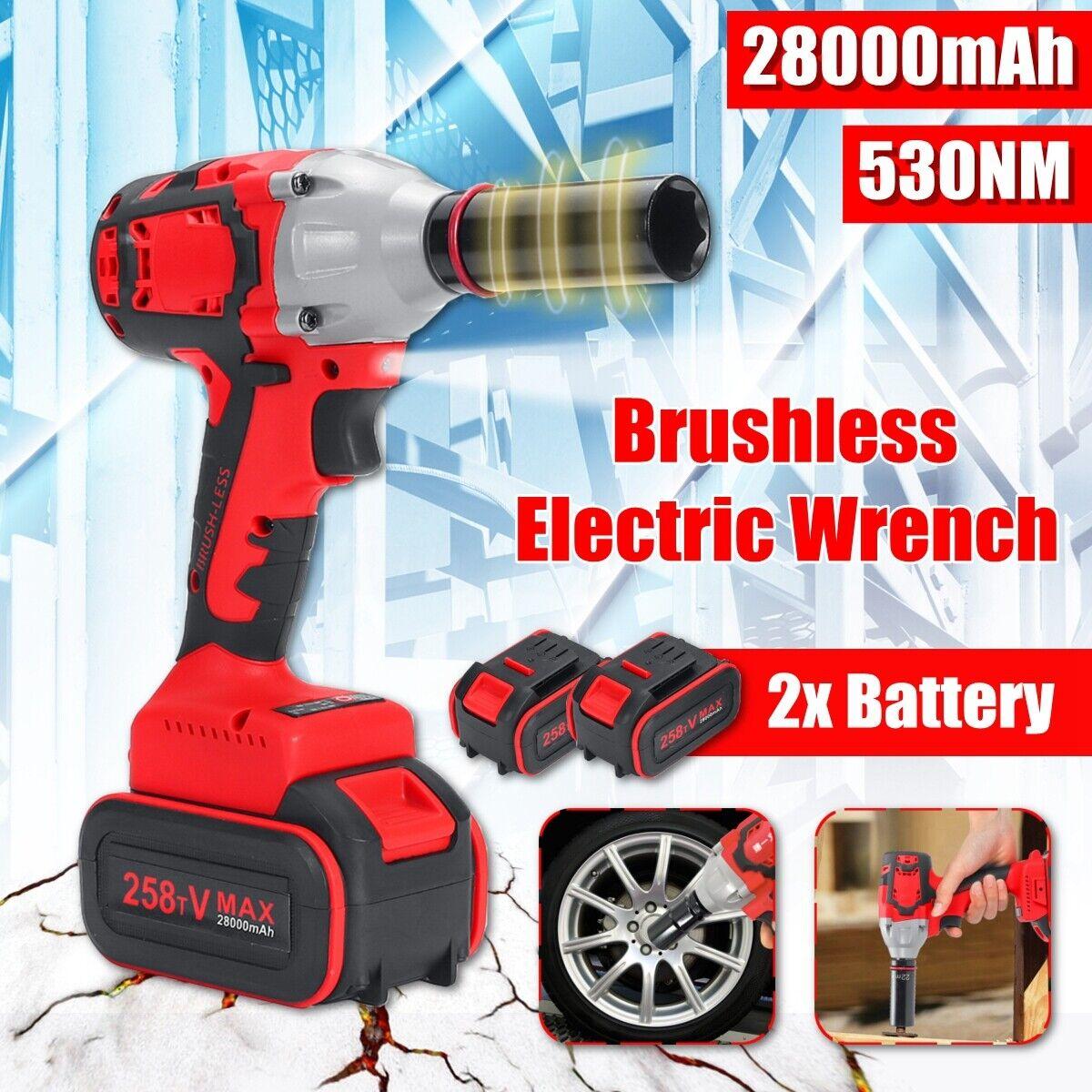 530Nm 20V Cordless Brushless Impact Wrench Gun 1 2'' Driver 2x 28000mAh Torque