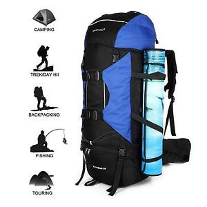 d62db20a66 Image is loading Large-80L-Internal-Frame-Backpack-Hiking-Camping -Waterproof-