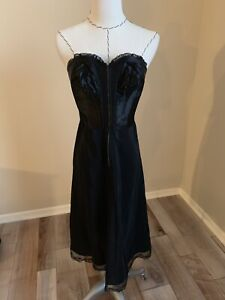 vintage black 1950s strapless slip corset dress lingerie