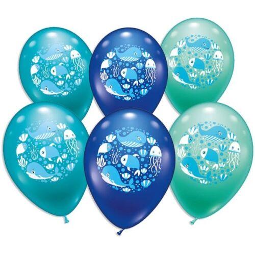 ca 6er Pack Ballons mit Unterwasser-Motiv+Meerestieren Ø 30cm