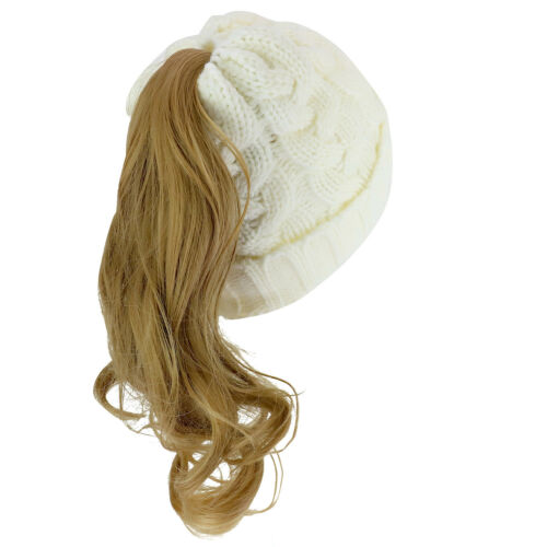Cable Knit Messy Bun Hair Winter Ponytail Beanie Cap FREE SHIPPING