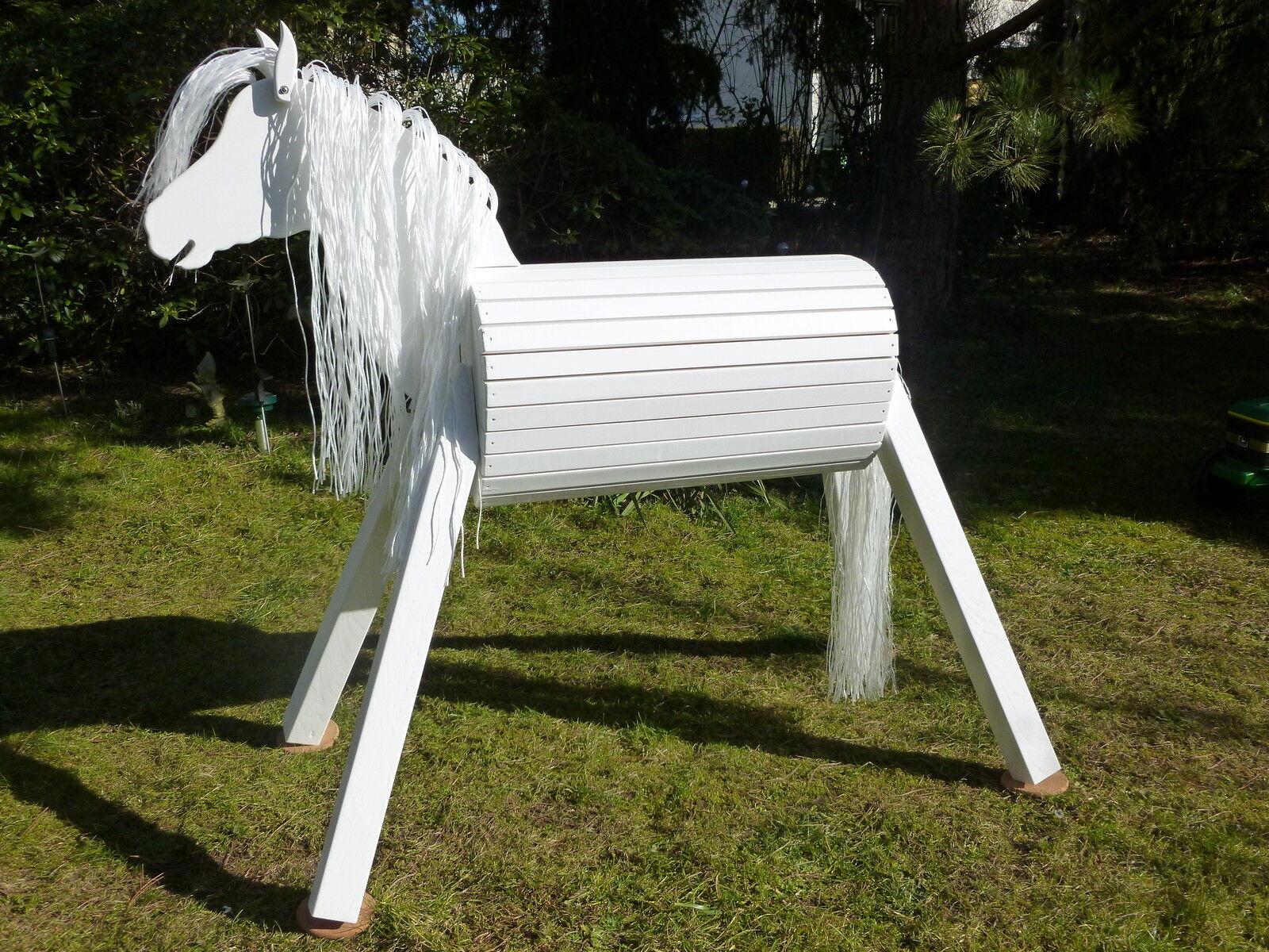 110cm Holzpferd Voltigierpferd Pony Pferd Lipizzaner mit Maul weiß NEU