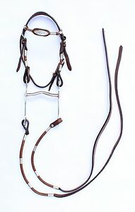 Brown Leather Headstall Decorative Show Split Reins Pony Curb bit