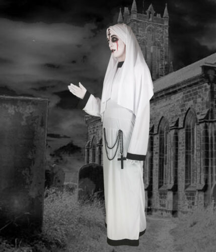 Adult Lady Nun Sister Ghost Conjuring Costume Valak Fancy Dress Halloween 12//14