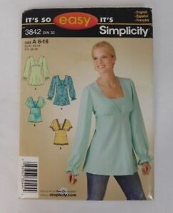 bb2fbc559 Misses Pullover Tunic Top Simplicity 3842 Sewing Pattern 2007 Size 8-18  C1813