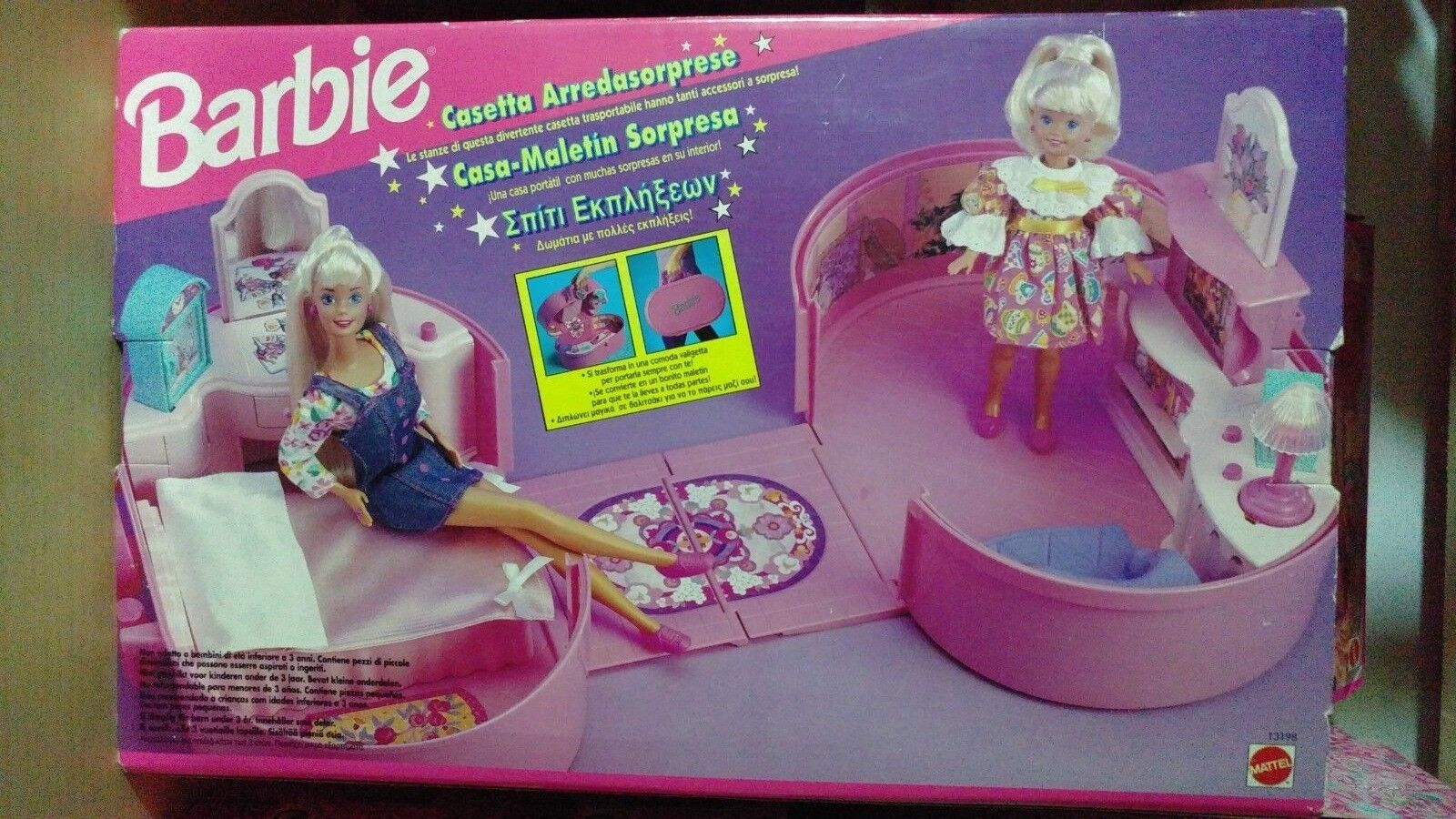 Barbie casetta arrossoasorprese 13198 pull pop play house coffret voyage NUOVO