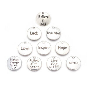 60pc-Alloy-Pendants-Inspirational-Message-Charms-Round-with-Word-Antique-Silver