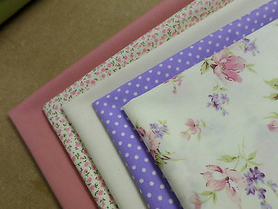 5 x Fat Quarters Dusky Pink & Lilac Florals & Polka Dot 100% cotton poplin