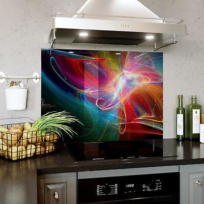 Acquista A Buon Mercato Vetro Splashback Cucina Fornello Grafica Colorata Qualsiasi Su Sfondo Nero Taglia 0468- Ultimi Design Diversificati