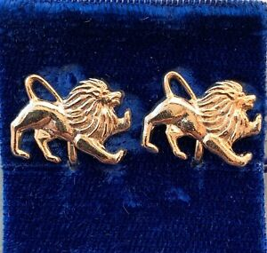 VINTAGE-LEO-EARRINGS-LION-CLIP-BACK-GOLD-TONE-METAL-ASTROLOGY-JEWELRY-NOS
