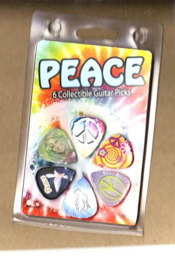 6 Picks Peace Sign-Dove-2 Motion Picks Design New in Pack Guitar Pick Set