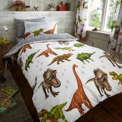 US TWIN FITTED SHEET AND PILLOWCASE SET RAWRSOME DINOSAUR 2 PIECE UK SINGLE