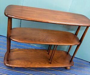 Ercol-Trolley-Bookcase-Room-Divider-Book-Case-Furniture-Dark-Wood-Windsor-Retro